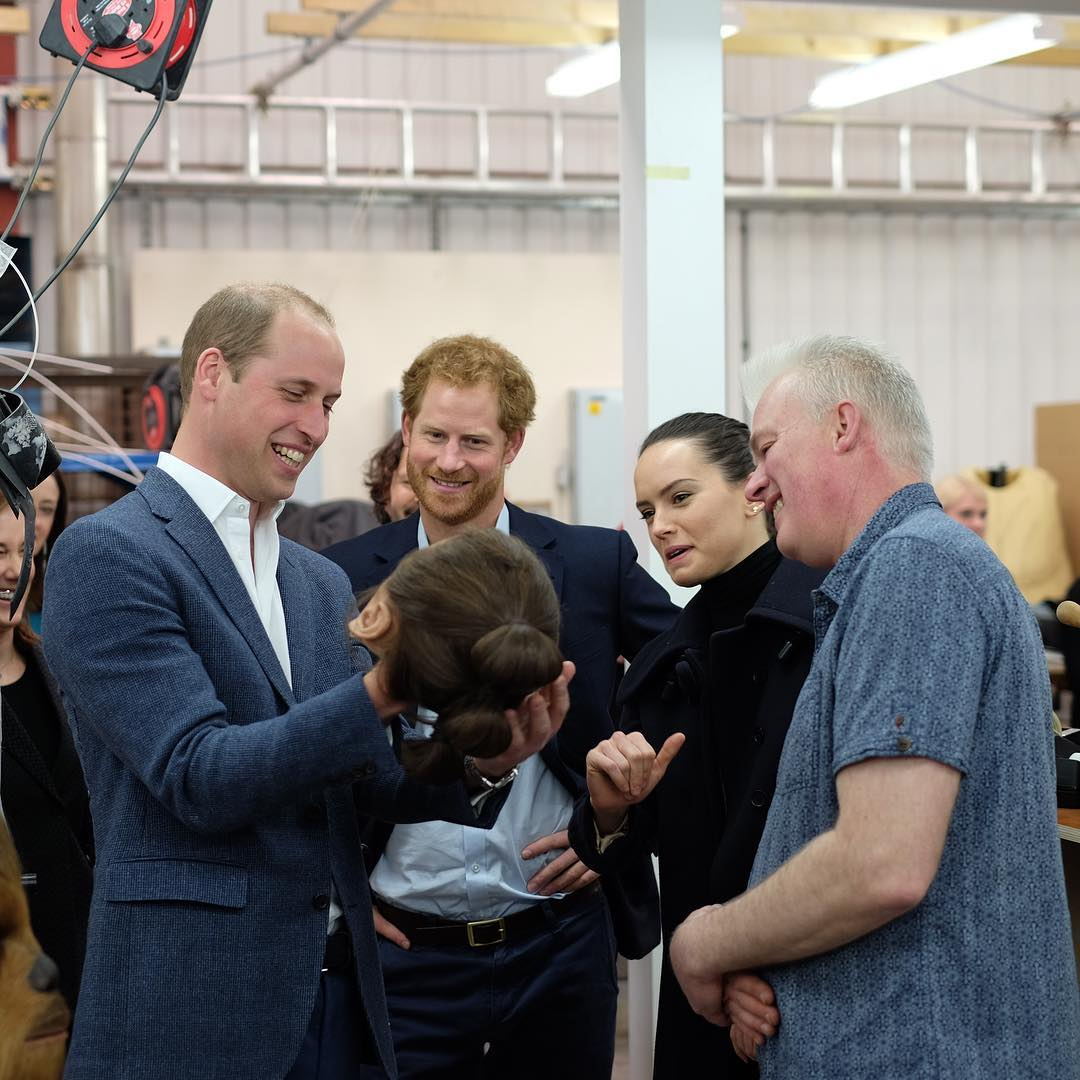 Princes William And Harry Visit The Star Wars Episode VIII Set2