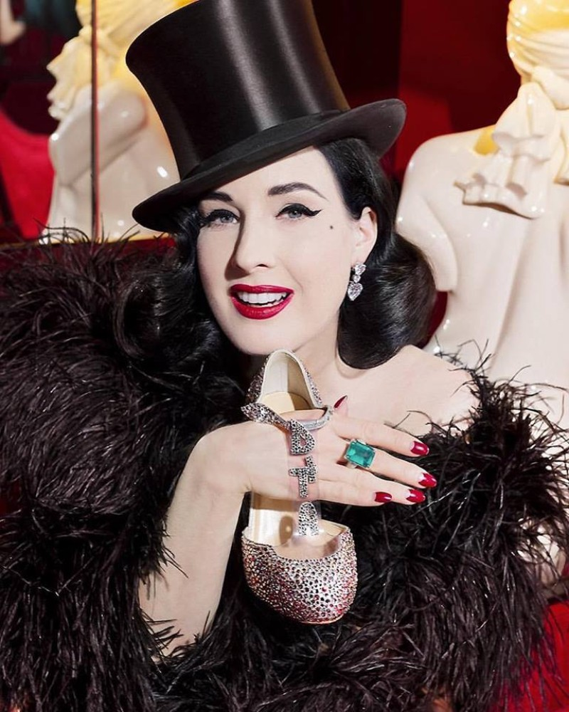 Christian Louboutin Customizes Glittering Red Soles For ... Dita Von Teese