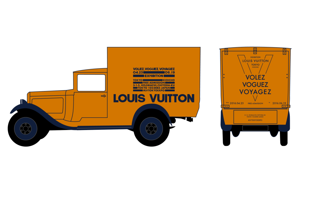 A rendering of the 1929 Citroen delivery truck Vuitton has restored to publicize its Tokyo exhibition.