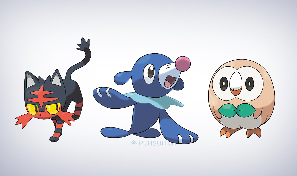Litten, Rowlet and Popplio Pokemon Sun and Moon