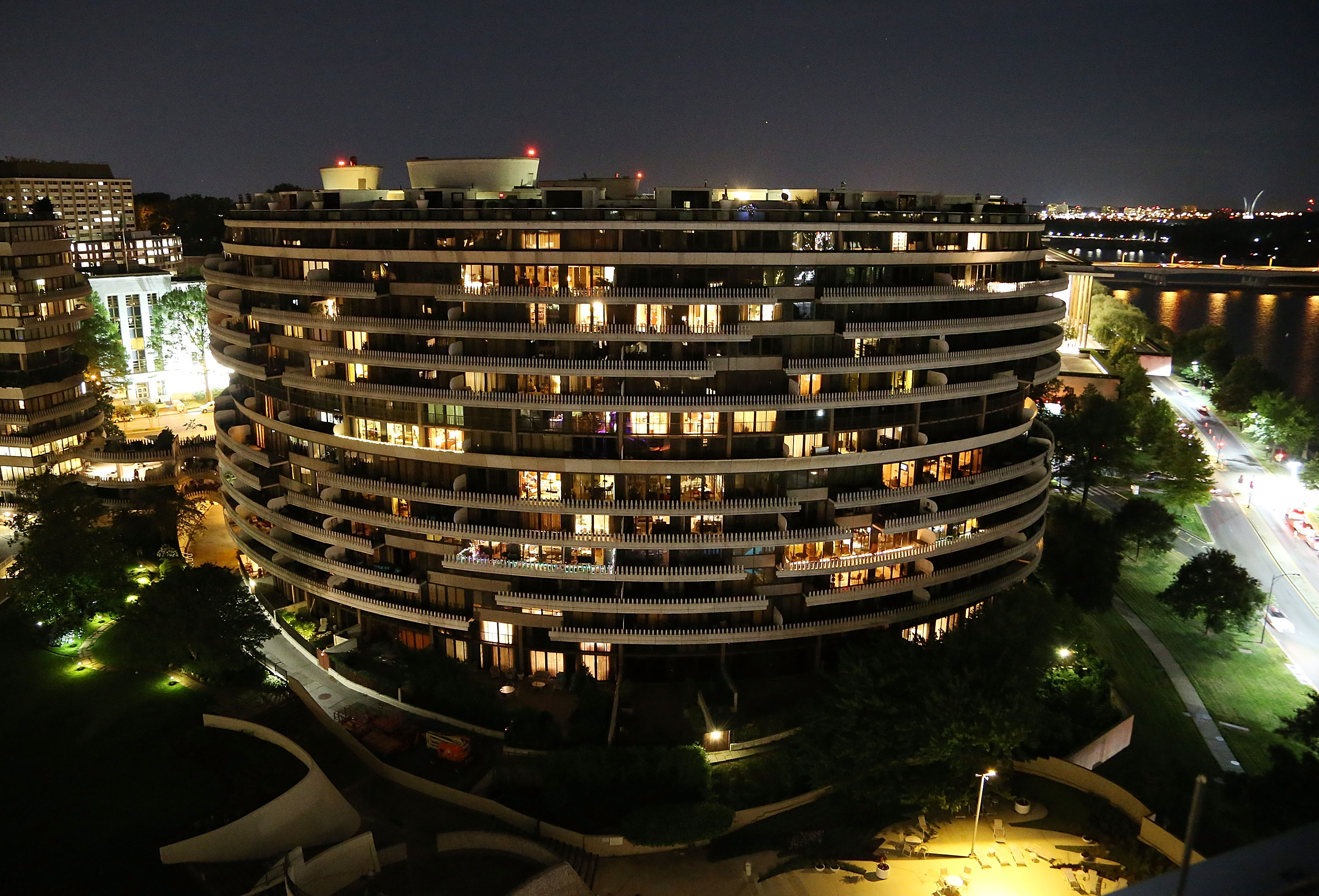 A rooftop view of The Watergate complex during the grand reopening party of the iconic Watergate Hotel on June 14, 2016 in Washington, DC.  (Photo by Paul Morigi/Getty Images for The Watergate Hotel)