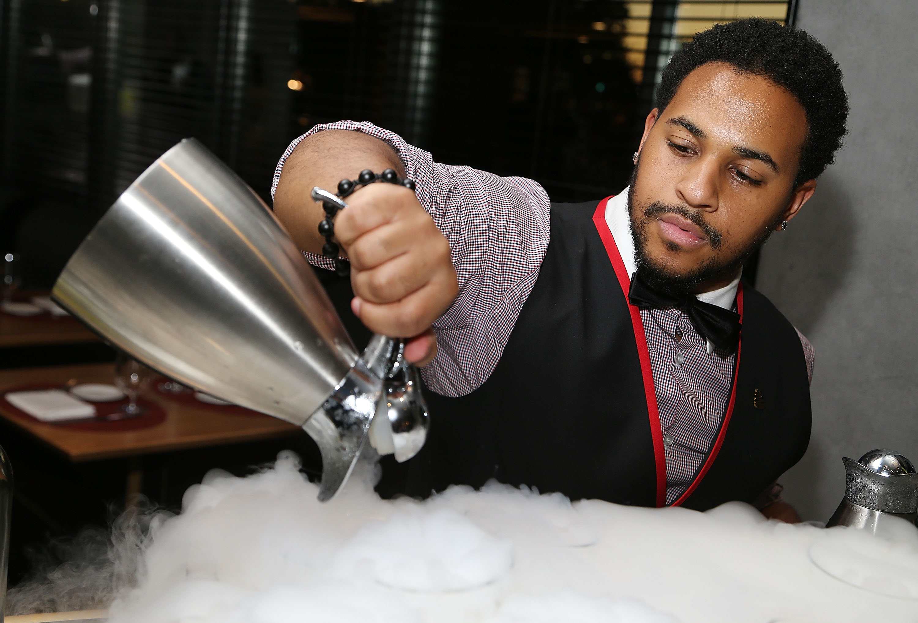 WASHINGTON, DC - JUNE 14: Specialty cocktails being made at the opening of Kingbird restaurant at the iconic Watergate Hotel on June 14, 2016 in Washington, DC.  (Photo by Paul Morigi/Getty Images for The Watergate Hotel)
