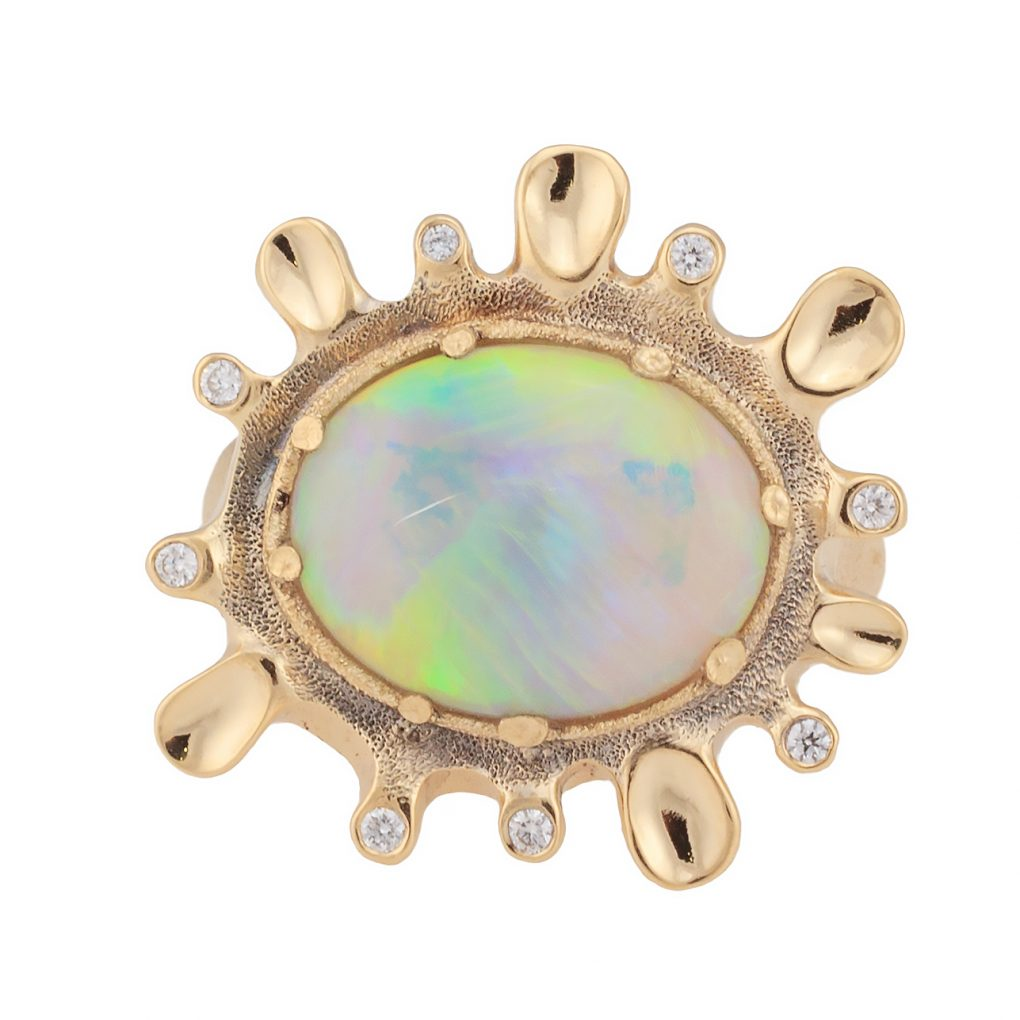Dawn. 4.63ct White Opal, 18K  yellow gold and white diamond ring