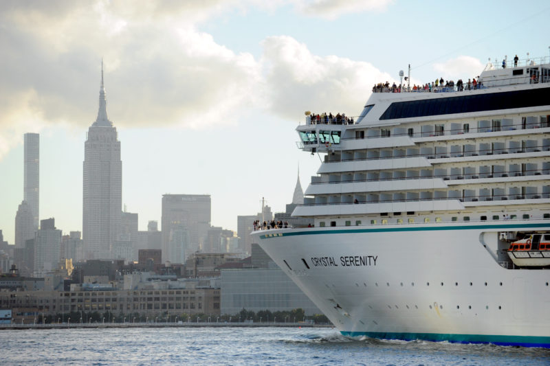 IMAGE DISTRIBUTED FOR CRYSTAL CRUISES - Crystal Serenity arrives in New York after completing its historic 32-day voyage through the legendary Northwest Passage, Friday, Sept. 16, 2016. Crystal Serenity becomes the first large luxury cruise ship to traverse the Arctic route that connects the northern Atlantic and Pacific oceans. (Diane Bondareff/AP Images for Crystal Cruises)