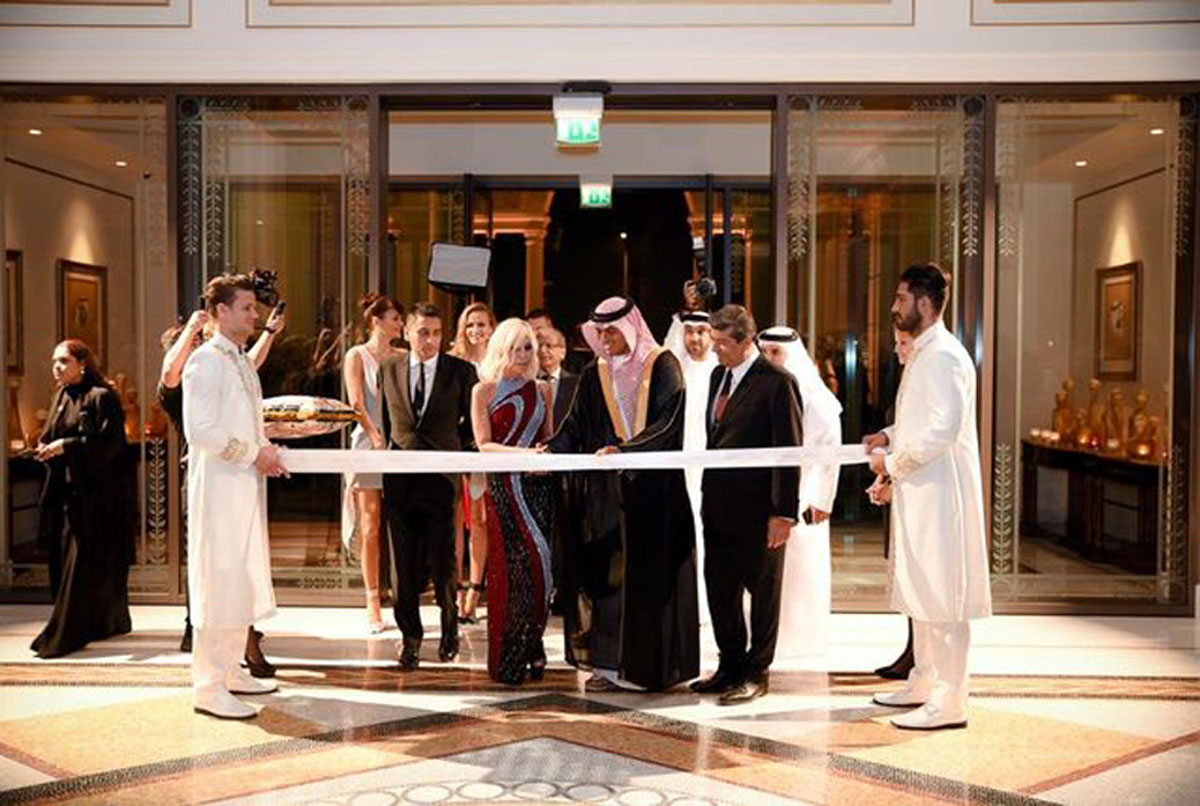 Donatella Versace Cuts The Ribbon At The Grand Opening Of Palazzo Versace Dubai