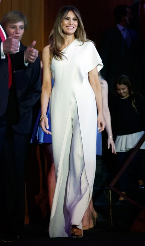 136e3f2221fd President-elect Donald Trump s wife made her debut as the country s new  first lady by sporting one-shoulder silk crepe Ralph Lauren jumpsuit. ...
