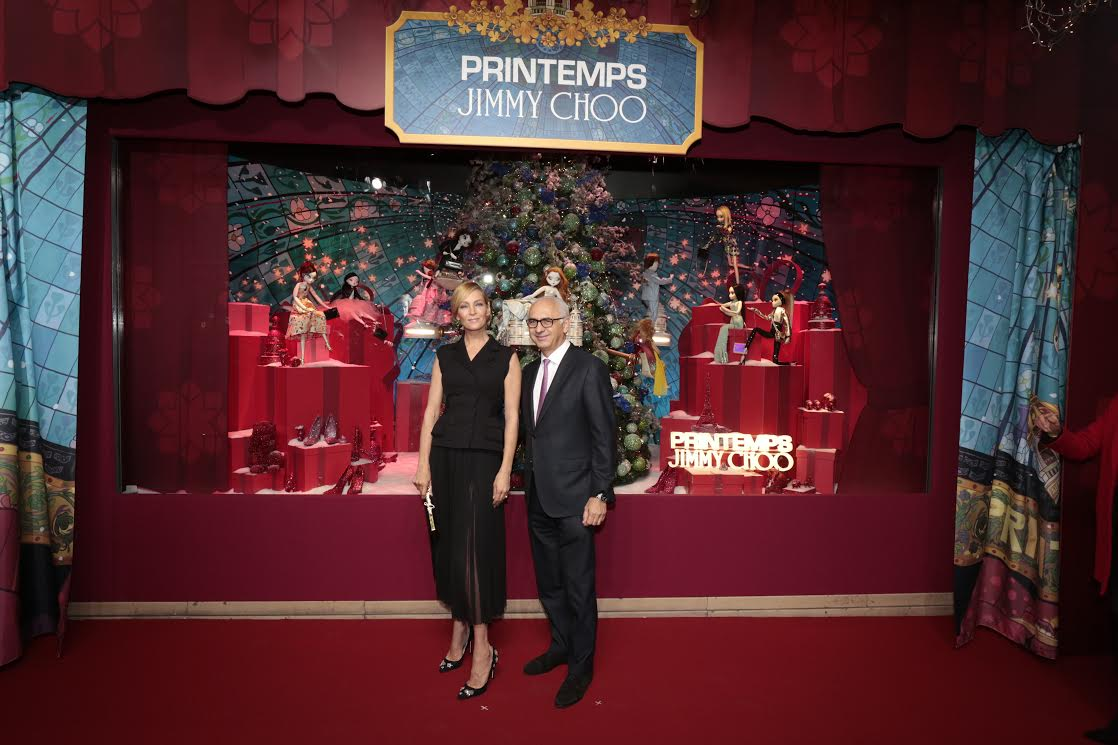 Uma Thurman Unveils Jimmy Choo Themed Christmas Windows At Printemps