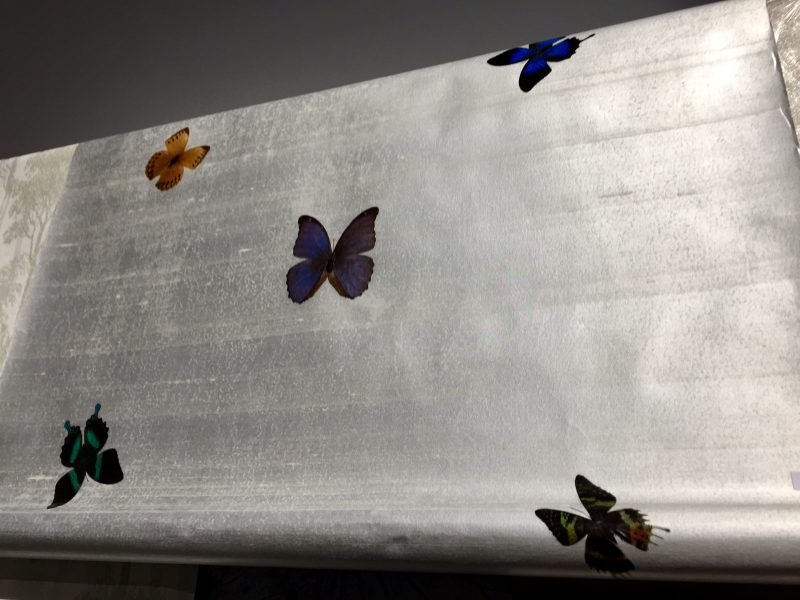 This wall covering uses real, cultivated butterflies that are adheared to the surface.