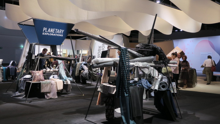 In the planetary exploration section of the Heimtextil theme park, textiles featuring crystals and iridescent, reflective materials were featured.