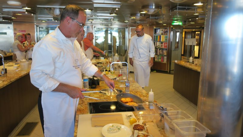 Passengers aboard Oceania Cruises' Marina and Riviera can take a cooking class aboard the ship.