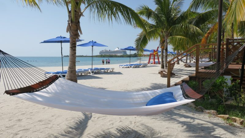The beach at Harvest Caye in Belize