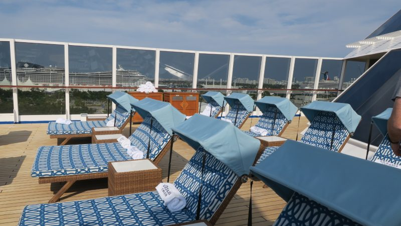 Sun beds on the Canyon Ranch Spa Club deck