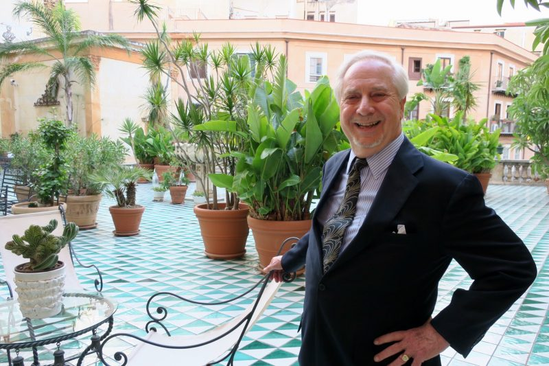 Houston-based Art Dealer John Parkerson on the Palazzo Valguarnera-Gangi terrace