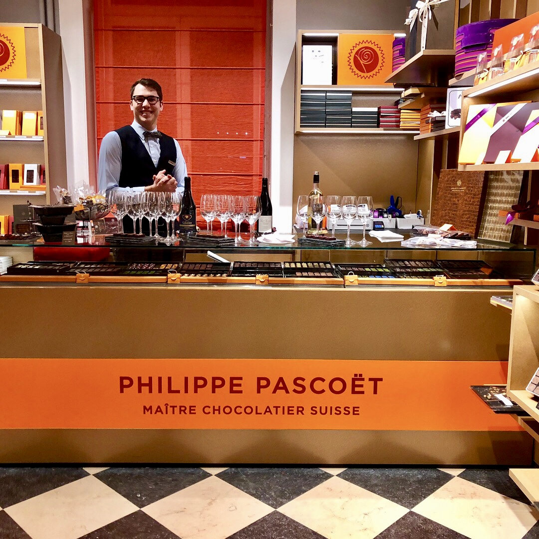 The Philippe Pascoët chocolate shop in the Ritz-Carlton's lobby.