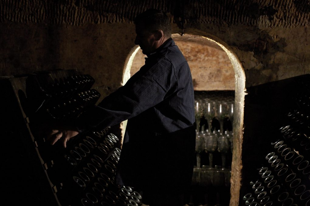 The riddling process at Champagne Laurent-Perrier