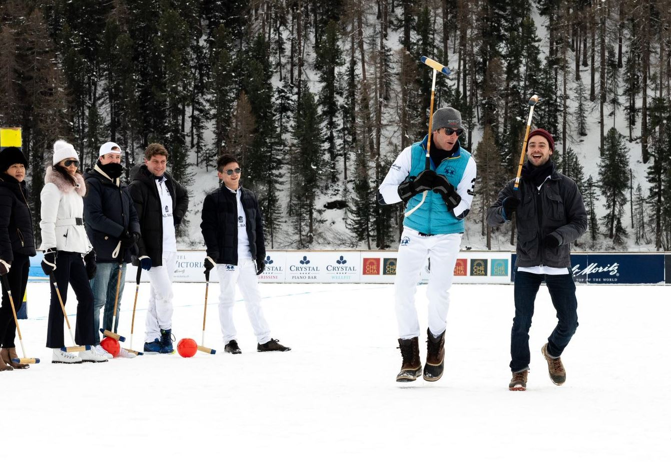 Malcolm Borwick teaches a snow polo clinic at St. Moritz, Switzerland