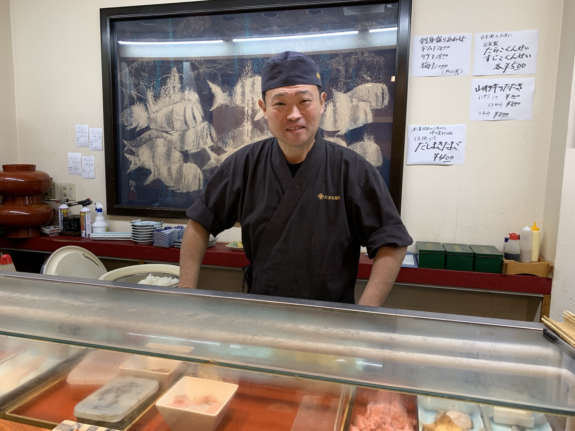 Atsushi Suzuki, a third-generation master sushi chef, at Daruma Sushi in Sakata, Yamagata. Daruma is one of the top restaurants in Tohoku.