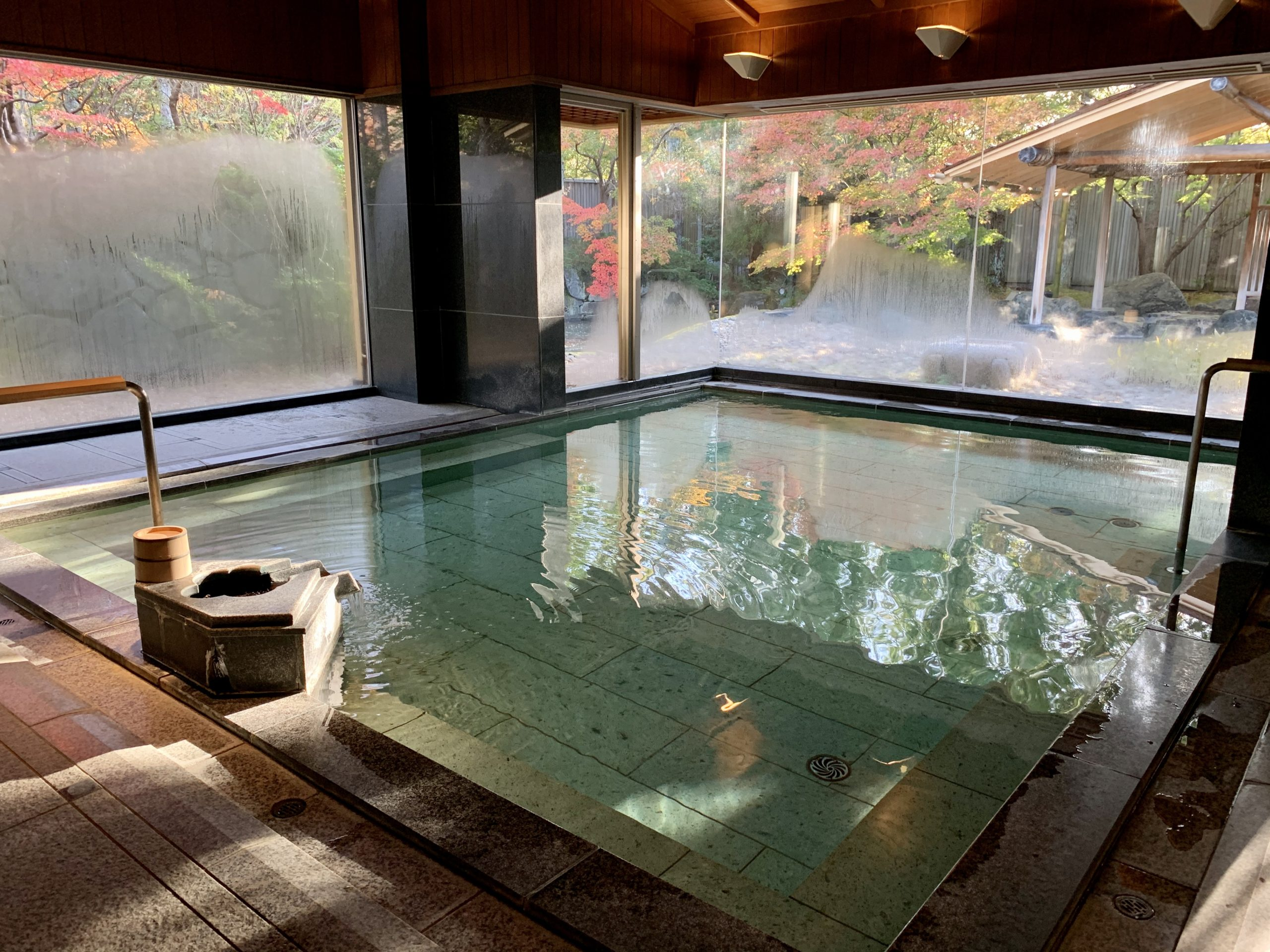 Saryo Soen is a traditional ryokan with beautiful grounds and facilities. One of its onsen is seen here. Photo by Carrie Coolidge